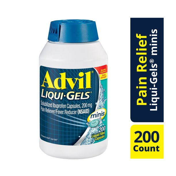Advil Liqui-Gels Minis Pain Reliever Fever Reducer 200 Count