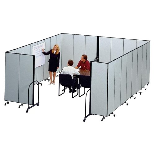 "Screenflex Freestanding 7 Panels Portable Partition - 13.10 Ft Length X 72"" Height - Polyester - Stone (CFSL607DG)"