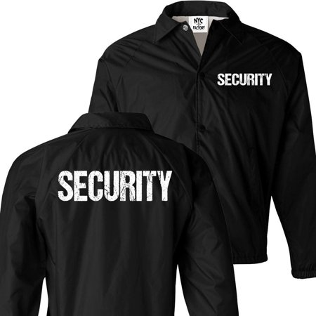 NYC FACTORY Men's Security Jacket Event Staff Windbreaker Front Back Silk Screen Print (Black-White, (Chinese Silk Satin Jacket)