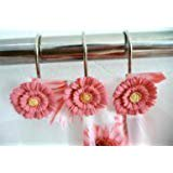 12 PCS Home Fashion Decorative Rust Proof Red Flower Shower Curtain - Decorative Shower Curtain Rings