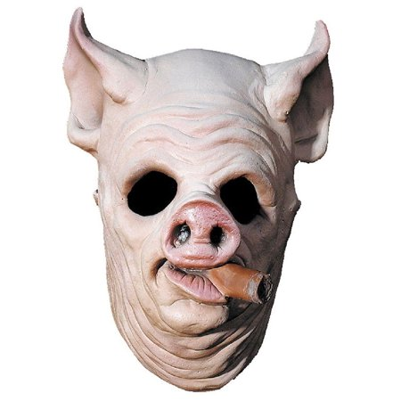 Pig Out Adult Halloween Latex Mask Accessory - Saw Pig Halloween Mask