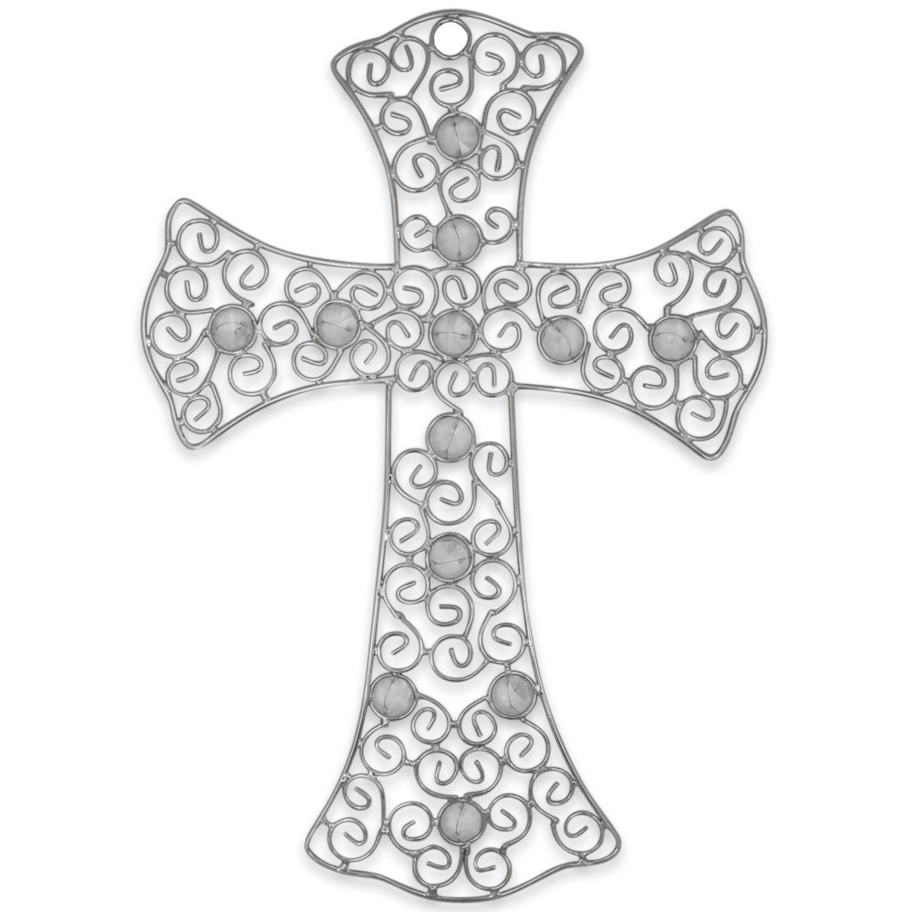 "12"" Metal Wall Cross with Artificial Stones"