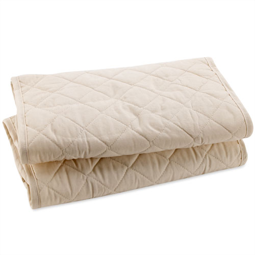 Natural Cotton Quilted Bassinet Pads, 2-Pack