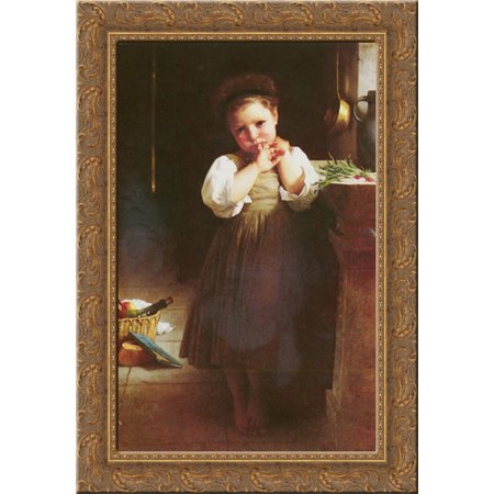 The Little Sulk 18x24 Gold Ornate Wood Framed Canvas Art by Bouguereau, William Adolphe