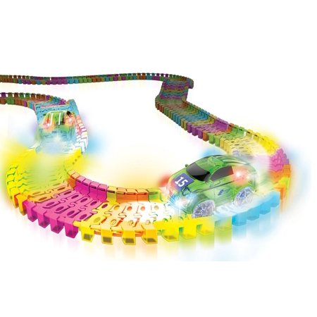 Twister Tracks Neon Glow In The Dark 221 Piece  11 Feet  Of Flexible Assembly Track Race Series