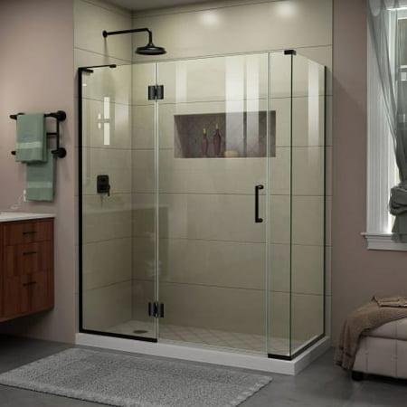 DreamLine Unidoor-X 59 1/2 in. W x 30 3/8 in. D x 72 in. H Frameless Hinged Shower Enclosure in Satin Black