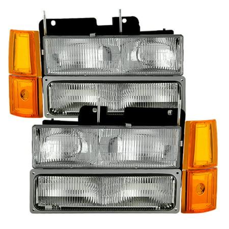 Oem Corner - Xtune GMC Yukon 94-99 Headlights w/ Corner & Parking Lights 8pcs Sets - OEM HD-JH-GCK94-OE-C-SET