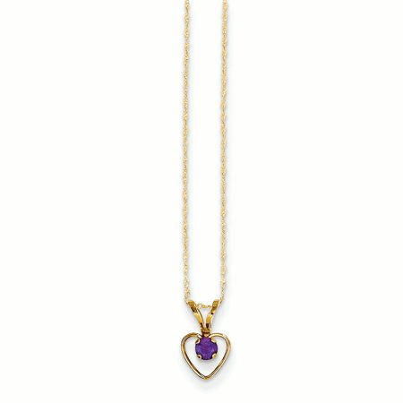 14K Yellow Gold Madi K 3 MM Amethyst Heart February Birthstone Pendant with Necklace, - Amethyst Yellow Pendant