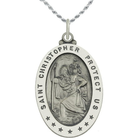 1 1/4in 0.925 Sterling Silver St Saint Christopher Medal Oval Pendant Necklace