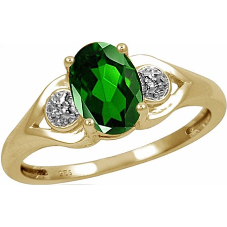 1.20 Carat T.G.W. Chrome Diopside Gemstone and White Diamond Accent Ring