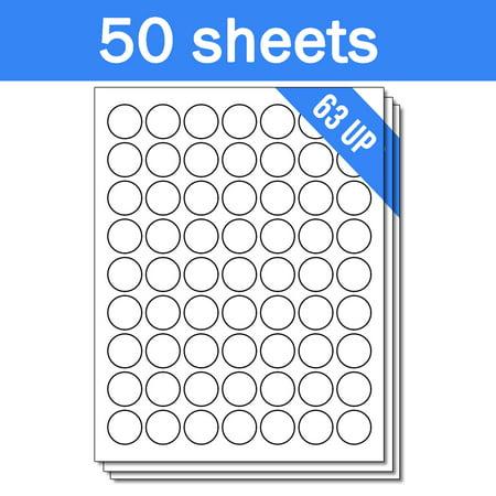 1.75 Inch Laser Labels - OfficeSmartLabels 1 inch Round Labels for Laser Inkjet (63 Labels Per Sheet, White, 50 Sheets )