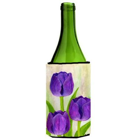 Purple Tulips by Maureen Bonfield Wine Bottle Can cooler Hugger
