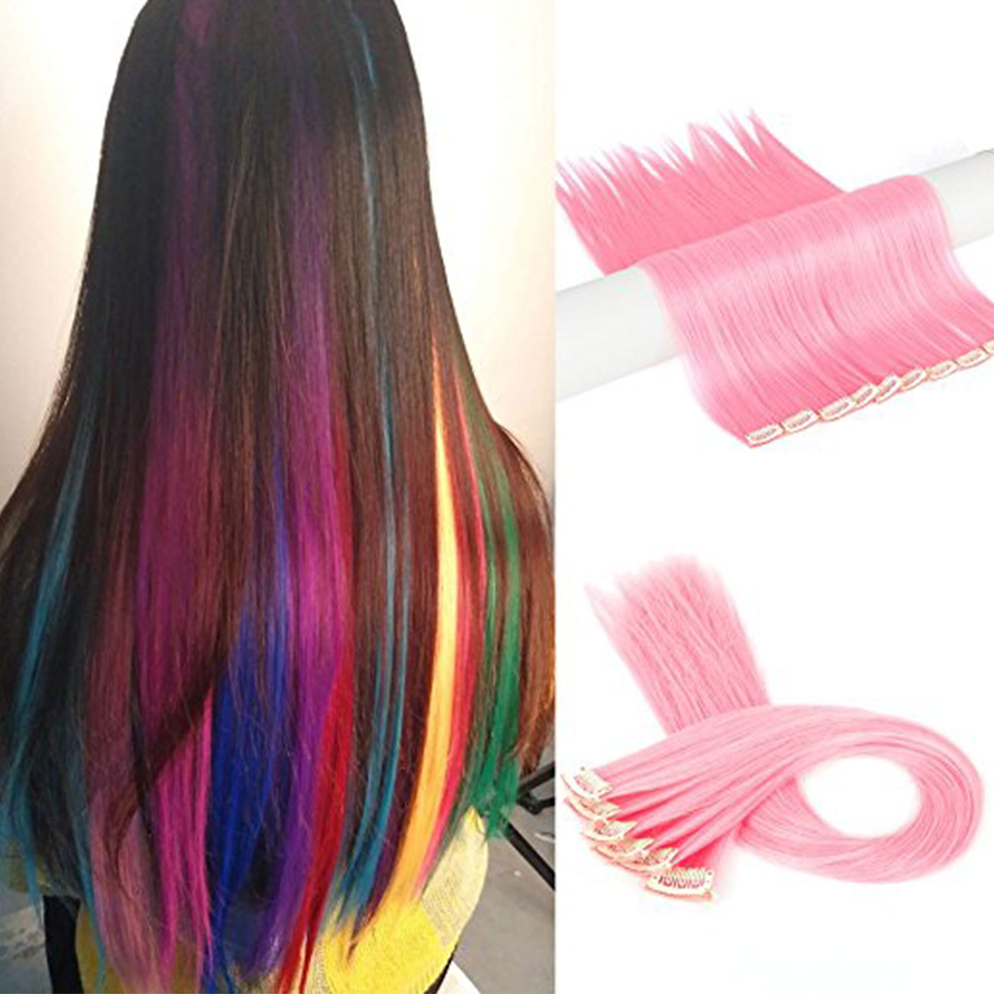 FLORATA 11PCS Straight Colored Clip in Hair Extensions Party Highlight Multiple Colors Hairpieces