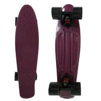 veZve Mini Cruiser Skateboard Complete for Kids Boys Girls, 22 inch, Maroon