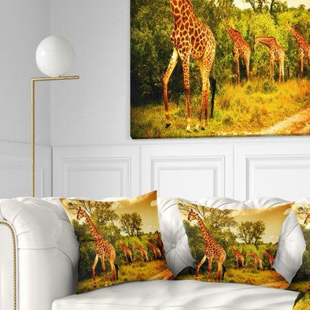 Incredible Design Art Designart South African Giraffes African Throw Pillow Onthecornerstone Fun Painted Chair Ideas Images Onthecornerstoneorg