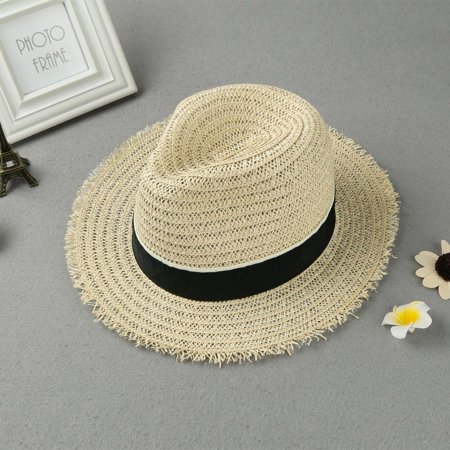 New Fashion Women Straw Hat Ribbon Trim Wide Brim Summer Sun Beach Cap Panama Hat Beige
