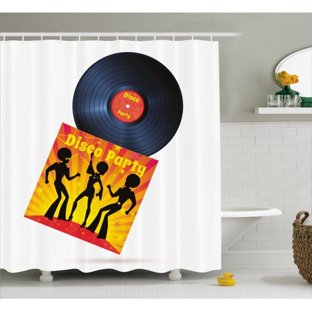 70s Party Decorations Shower Curtain, Vinyl Record Cover with Disco Party Illustration Dancers Music, Fabric Bathroom Set with Hooks, 69W X 70L Inches, Black Red Yellow, by Ambesonne (70s Gogo Dancer)