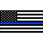 BW USA FLAG with Police THIN BLUE LINE Sticker Decal (american officer decal) Size: 3 x 5 inch