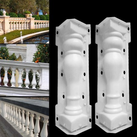 Plastic Roman Columns (2 Pcs Roman Column Moulds Balcony Garden Fence Cement Railing Plaster Concrete Mould Plastic Casting Mold for Concrete DIY Craft Home Garden Ornament)