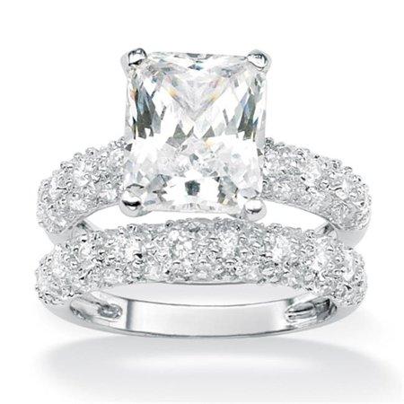 PalmBeach Jewelry 508476 6 50 TCW Emerald Cut Cubic Zirconia Platinum Plated Bridal Engagement