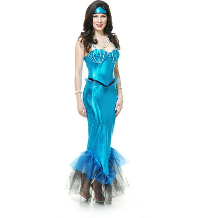 Adults Womens  Tight Blue Black Fantasy Mermaid Costume - Fantasy Adult Costumes