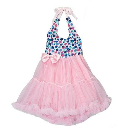Wenchoice Girl's Pink Polka Dot Halter Dress L(5T-6T)