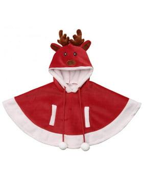 Baby Girls Warm Christmas Deer Costume Fleece Hoodie Cape Cloak Poncho Coat 2-3T