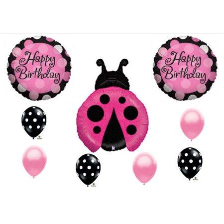 Ladybug Pink Black Magenta Happy Birthday Party Balloon Decorating Kit Set