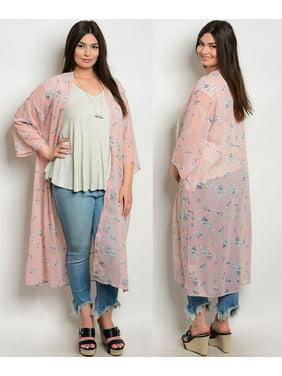 7b73b20702 Product Image JED FASHION Women s Plus Size Floral Maxi Chiffon Kimono Top