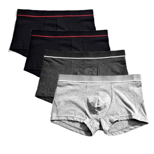 Men's Solid Color Boxer Briefs Breathable Sexy Soft Cotton Underwear