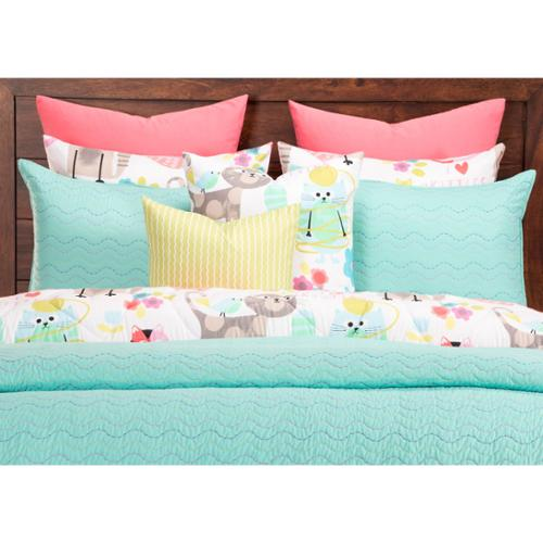 Crayola Stitched Robin's Egg Blue 3-piece Quilted Coverlet Set Twin-2 Piece