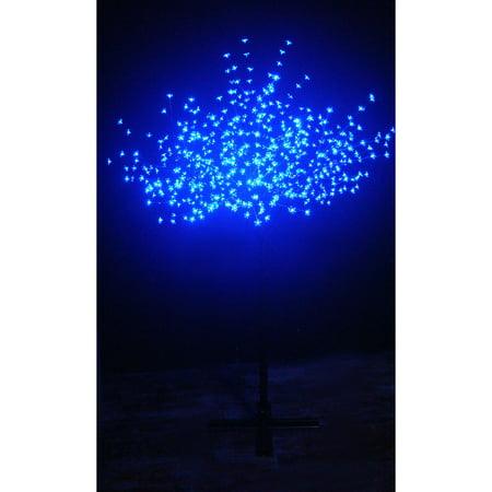 CHERRY BLOSSOM TREE - 600 BLUE LEDS An 82  high lighted tree with 600 blue cherry blossom-shaped LEDs.