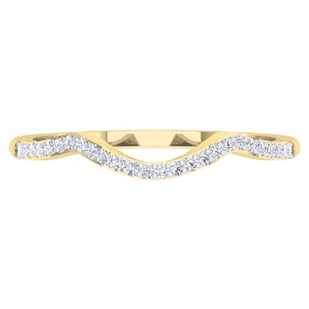 Dazzlingrock Collection 0.12 Carat (ctw) 14K Round Cut Diamond Ladies Wedding Band Contour Guard Ring, Yellow Gold, Size