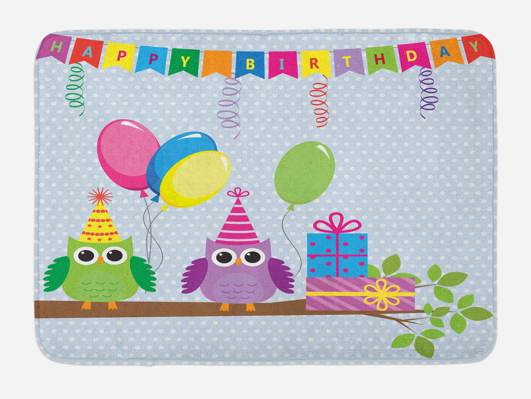 Kids Birthday Bath Mat, Cartoon Style Owls at a Party with Flags Boxes on a Polka Dotted... by 3decor llc