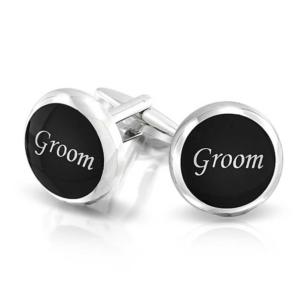 Groom Round Black Shirt Cufflinks For Men Wedding Party Gift Brass Steel Hinge Back