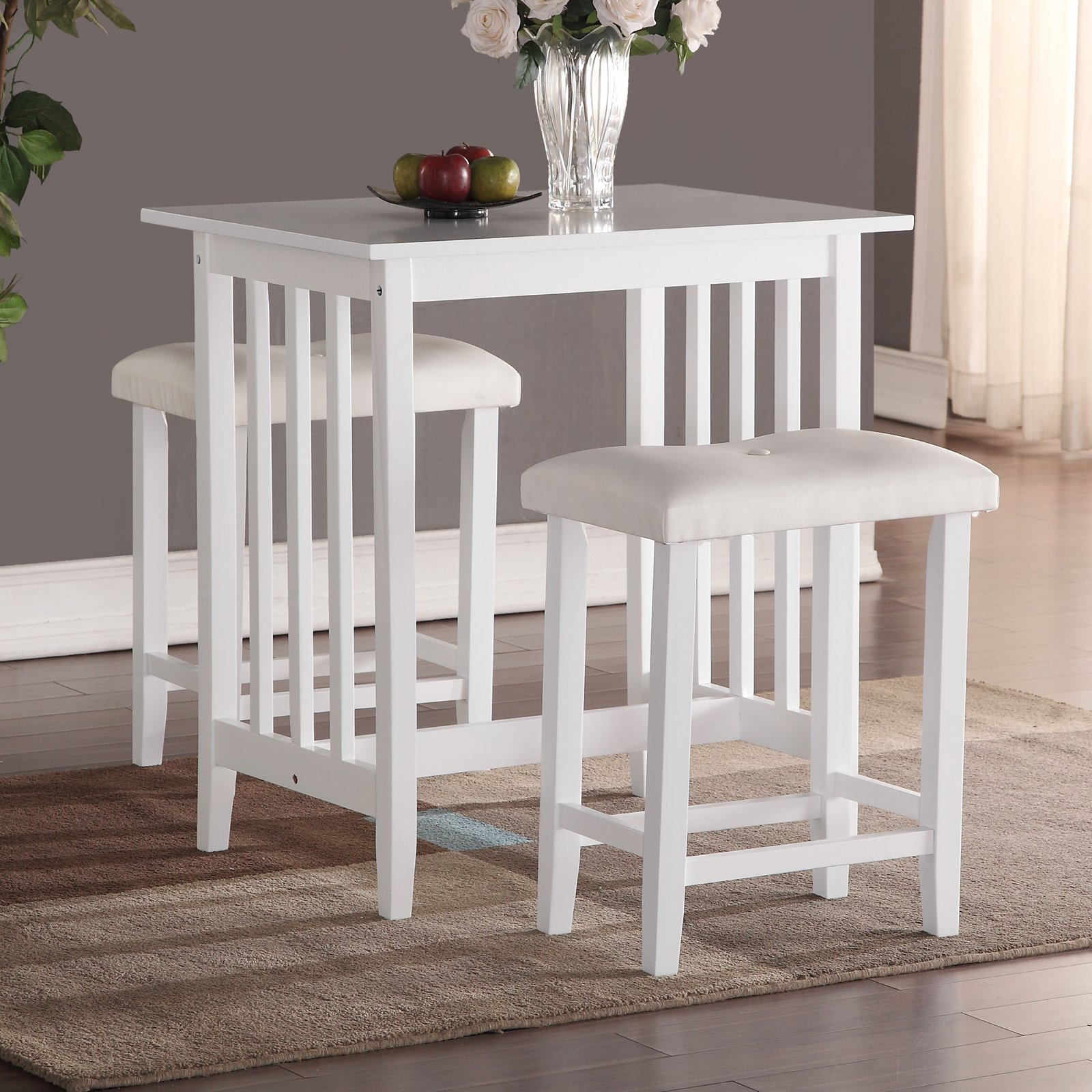 Roundhill 3-Piece Counter Height Dining Set with Saddleback Stools White