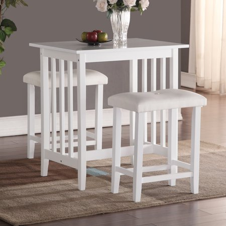 Roundhill Furniture 3 Piece Counter Height Dining Set With