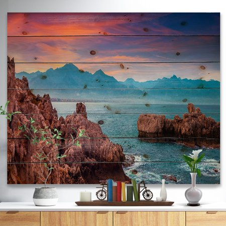 Multi Color Natural Wood - DESIGN ART Designart 'Sunrise on Barbor Milazzo Panorama' Landscape Print on Natural Pine Wood - Multi-color