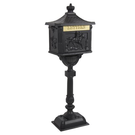 Best Choice Products Heavy Duty Cast Aluminum Vintage Mailbox w/ Keys, Locking Door, Mail Flap - (Cast Aluminum Pedestal Mailbox)