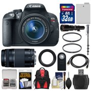 Canon EOS Rebel T5i Digital SLR Camera & EF-S 18-55mm IS STM Lens with EF 75-300mm III Lens + 64GB Card + Battery + Backpack + Tele/Wide Lenses Kit