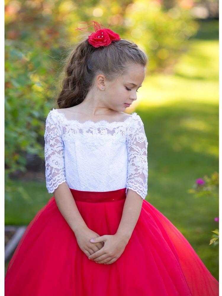 e90fa63ac15 TriumphDress - Triumph Dress Girls White Red Tulle Lace Lucia Flower Girl  Dress - Walmart.com