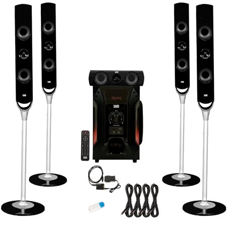 b098c685bb9 Acoustic Audio AAT1000 Tower 5.1 Speaker System with USB Bluetooth Optical  Input and 4 Extension Cables - Walmart.com