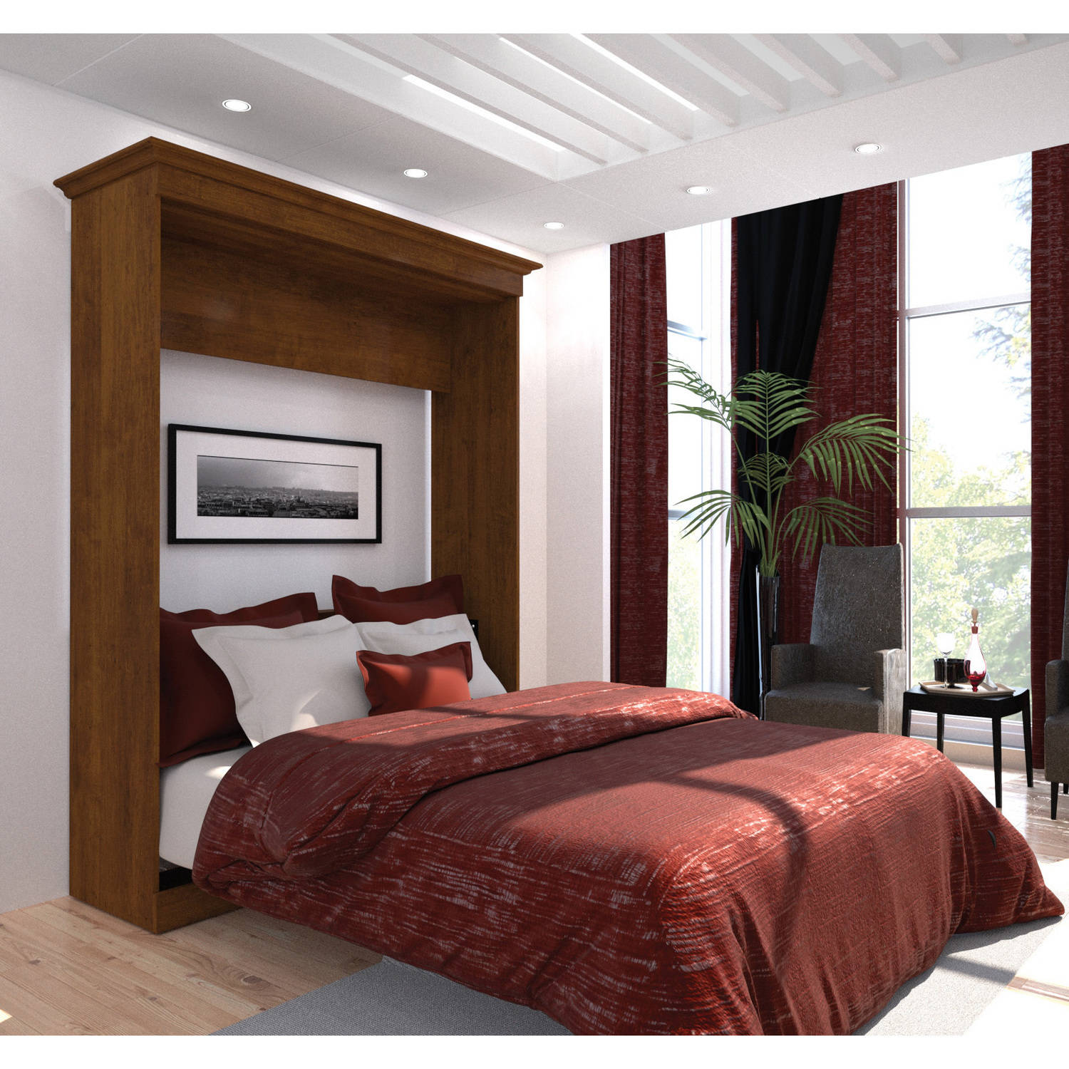 Bestar Versatile by Bestar 70'' Queen Wall Bed, Tuscany Brown