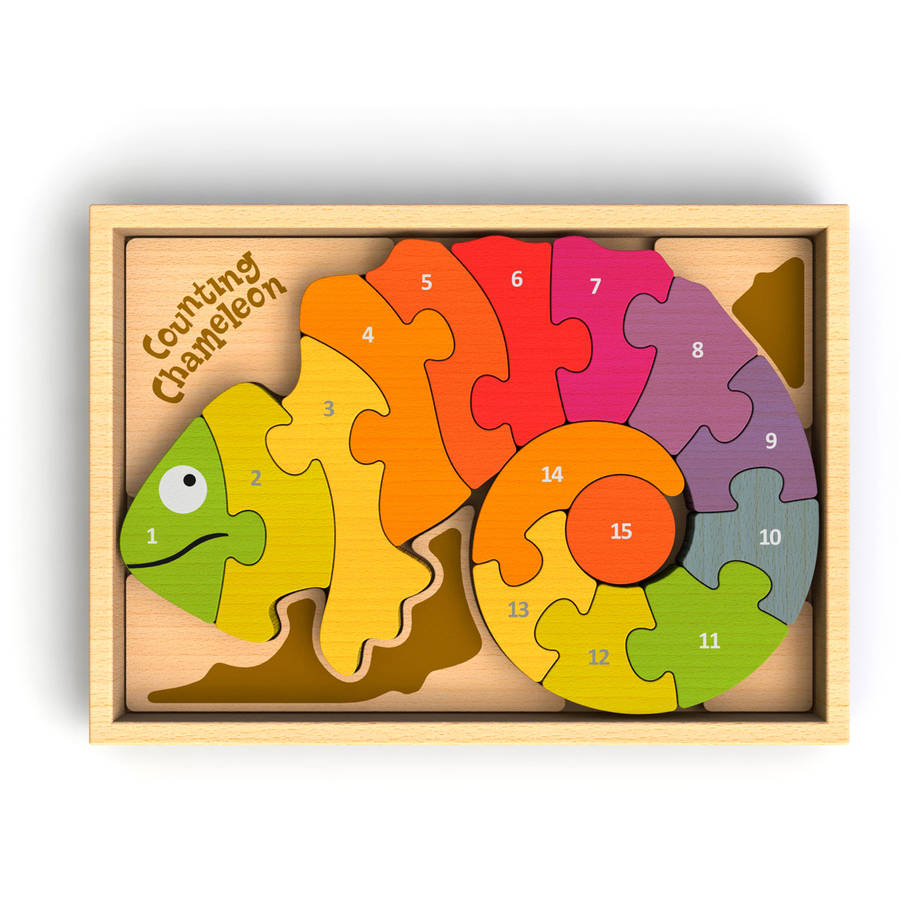 BeginAgain Toys Counting Chameleon Wooden Counting Puzzle, Bilingual