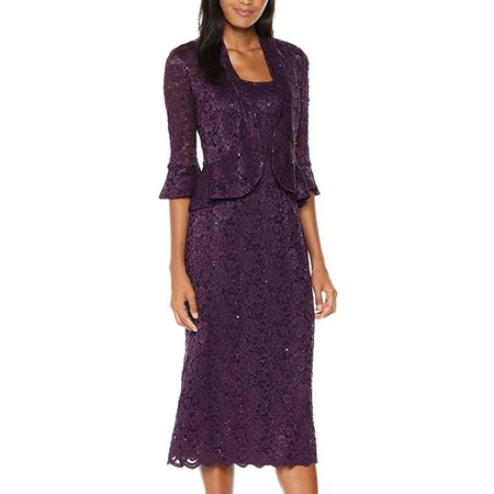 RM Richards Women's Sequin Lace Midi Dress With Jacket - Mother of The Bride Wedding Dresses