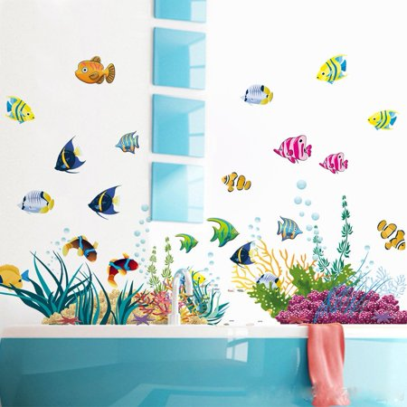 Under the Sea Decals The Deep Blue Sea Fishes Decorative Peel Vinyl Wall Stickers Wall Decals Removable Decors for Bedrooms Kids Rooms Baby Nursery Boys and Girls