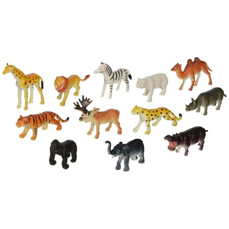 Large Zoo Animals (12 Little Zoo Animals Toy Figure, 2.5