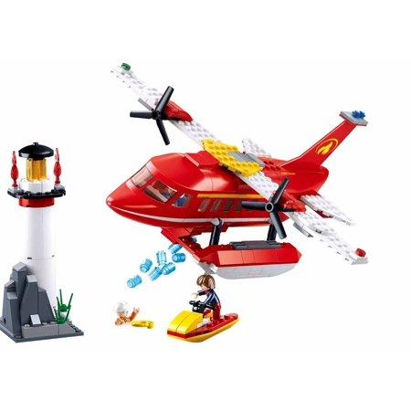 Sluban Firefighting City Series Blocks Educational Bricks Toy Kit (348 Piece) - Flying Boat - Flying Boat Kit