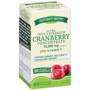 Natures Truth Ultra Triple Strength Cranberry Concentrate Herbal Supplement 15,000mg Plus Vitamin C Quick Release Capsules 90 ct Box