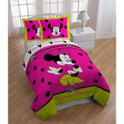 Disney Minnie Mouse Neon Twin  Full Size Comforter and Shams set